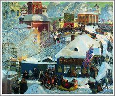 Boris Mikhailovich Kustodiev (1878-1927), Les Fêtes d'Hiver - 1919 Art Prints, Photo, Fine Art, Cityscape, Russian Art, Great Artists, Naive Art, Painting, Art