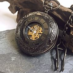 Personalized Pocket Watch Black Windup Mechanical pocketwatch with Cha – PocketWatchKeepsakes