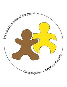Bullying - Collaborative work with puzzle pieces with reflections written on them and attached to a work of art.