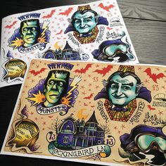 The Munsters Tattoo Flash A4 Sheet giclee print by SubtitleArtwork