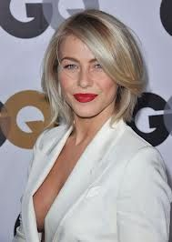 Julianne Hough - chic look - love the hair  together with red lips and white jacket.