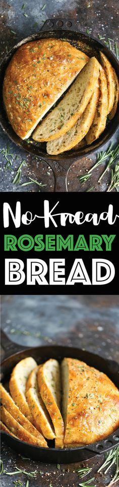 No Knead Rosemary Bread Recipe - Damn Delicious Best Bread Recipe, Bread Recipes, Vegan Recipes, Cooking Recipes, Easy Recipes, Rosemary Bread, Garlic Bread, Brunch, Good Food