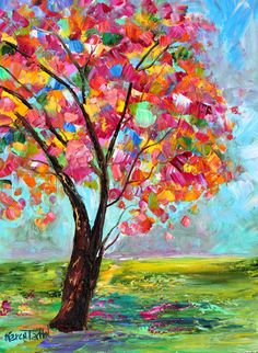 Original oil painting Spring Tree palette knife impressionism on canvas fine art by Karen Tarlton Abstract Tree Painting, Abstract Watercolor, Fabric Painting, Diy Painting, Spring Tree, Tree Art, Painting Inspiration, Art Projects, Palette Knife