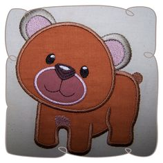 Applique Bear Critter Machine Embroidery Design Pattern. Bear Applique. Applique designs. Woodlands Critters. Kids Applique www.embroidershoppe.com