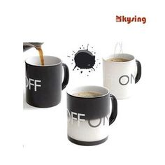 Online Shop ON and OFF Logo Temperature Color Change Coffee mug / ceramic cup / new ideas couples gift Free Shipping|Aliexpress Mobile