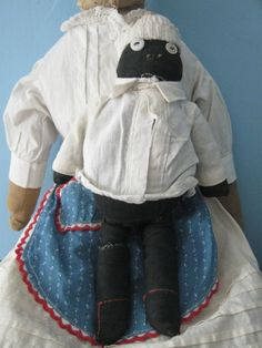 "Vintage Black Cloth 11"" Boy Doll, Overalls"