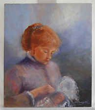 Vintage Original Painting Portrait Nursing Mother Victorian Style M B Franzetti