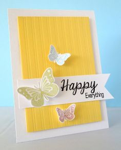 Stamping & Sharing: Happy Sunday Cheerful yellow with 3 butterflies