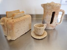 Ceramic Toaster, Kettle, Cup and Saucer