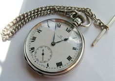 ANTIQUE 1920S SILVER OMEGA POCKET WATCH CHAIN