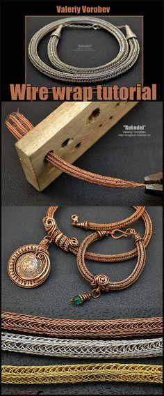Viking Knit, rukodel, valeriy vorobev, wire wrap tutorial, wire wrap tutorials - ALL ABOUT Wire Jewelry Designs, Handmade Wire Jewelry, Copper Jewelry, Wire Wrapped Jewelry, Jewelry Art, Jewlery, Diy Schmuck, Schmuck Design, Viking Knit Jewelry
