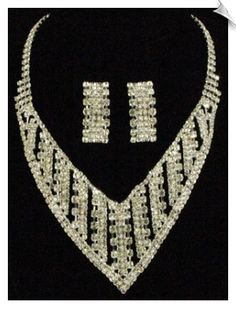 Glamour Clear Rhinestones Necklace with Clip On Earrings Accented in Silvertones $48 @ www.whimzgirlclipearrings.com