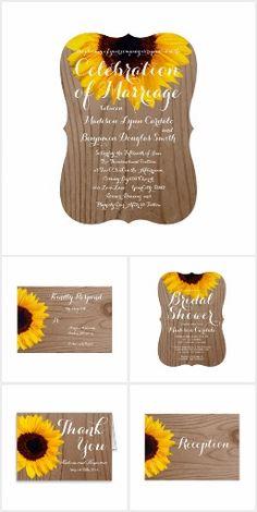 Sunflower Rustic Wood Wedding Invitation Set