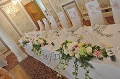 Top table flowers wedding Lincombe hall hotel Torquay.