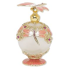 """Perfume bottle, glass / frosted glass / enamel / gold-finished """"pewter"""" (zinc-based alloy), multicolored, inches with metal dauber and threaded stopper with dragonfly. Crystal Perfume Bottles, Antique Perfume Bottles, Perfume Recipes, Essential Oil Perfume, Beautiful Perfume, Pink Jewelry, White Clay, Bottle Art, Coral Pink"""