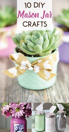 A collection of 10 DIY Mason Jar Crafts for sprucing up your home including DIY herb garden, a mason jar picture frame, pendant lights and rustic sconces Mason Jar Picture, Small Mason Jars, Blue Mason Jars, Painted Mason Jars, Mason Jar Diy, Mason Jar Plants, Mason Jar Succulents, Plants In Jars, Succulents Diy
