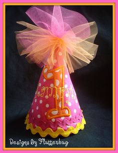 PERSONALIZED+Birthday+Hat++Hot+Pink+Orange+by+Designsbyflutterbug,+$20.95