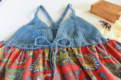 Azul hippie top boho chic túnica tapa del tanque de colorido Boho Chic, Hippie Tops, Crochet Bikini, Bikinis, Swimwear, Gypsy, Crochet Tops, Pullover, Knitting