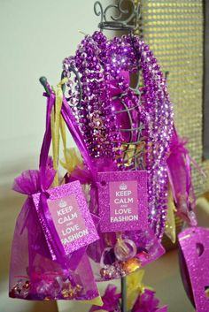 Purple favors at a girls night party!  See more party planning ideas at CatchMyParty.com