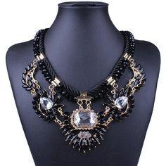 Bead Leather Rope Flower Statement Rhinestone Bib Choker Necklace-Qiyun (TM) 18K Gold Resin
