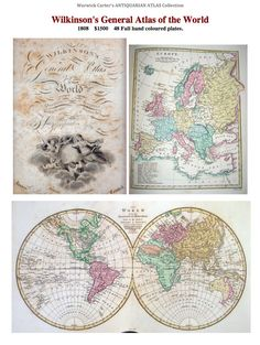 Wilkinson's General Atlas of the World 1808 Vintage World Maps