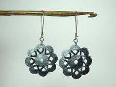 Dahlia Crochet Earrings safety wire. Choose colour
