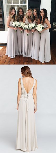 elegant long bridesmaid dress, grey long bridesmaid dress, v neck long chiffon bridesmaid dress, wedding party dress