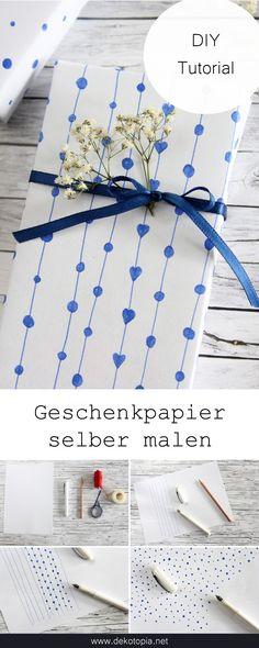 DIY Geschenkpapier: einfach Kopierpapier mit dem Füller bemalen!