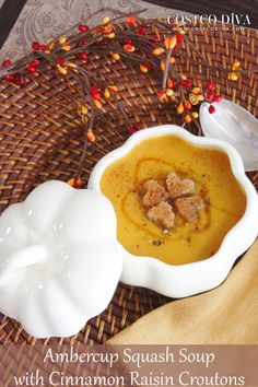 ambercup squash soup with cinnamon raisin croutons ambercup squash ...