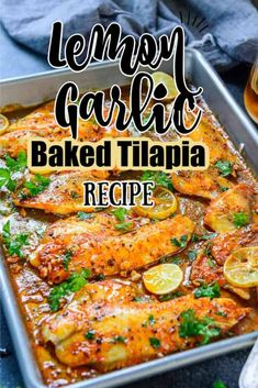 This Spicy Lemon Garlic Baked Tilapia takes all of 5 minute of preparation time before you pop it in the oven Pair it with sautéed vegetables and steamed rice for. Fish Dinner, Seafood Dinner, Healthy Dinner Recipes, Cooking Recipes, Baked Tilapia Recipes Healthy, Cooking Tips, Whole30 Fish Recipes, Cooking Gadgets, Cooking Classes
