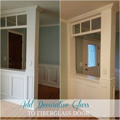 A stunning way to upgrade your boring front door! Do THIS to your front door to dramatically transform it—and it looks so gorgeous! Instead of buying a new fiberglass door, we ordered a decorative glass window to transform it. Glass Front Door, Glass Door, Front Doors, Front Stoop, Front Entry, Wainscoting Wall, 6 Panel Doors, Front Door Makeover, Half Walls