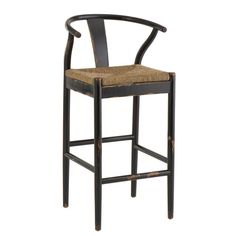 Hans Wegner style counter stool in distressed black