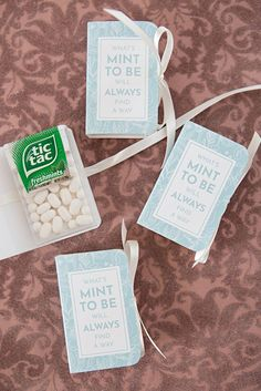 Free printable Tic Tac Mint To Be wedding favors! - Free printable Tic Tac Mint To Be wedding favors! Creative Wedding Favors, Inexpensive Wedding Favors, Edible Wedding Favors, Cheap Favors, Personalized Wedding Favors, Wedding Favors For Guests, Bridal Shower Favors, Wedding Snacks, Wedding Reception