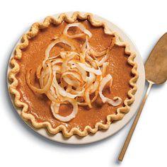 Ginger Pumpkin Pie with Toasted Coconut Recipe | MyRecipes.com