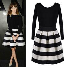 Barato nova moda inverno e primavera 2014 meninas usando docinho preto e branco listrado lq4854 costura vestido, Compro Qualidade Vestidos diretamente de fornecedores da China: