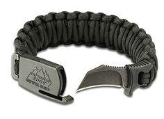 Outdoor Edge PCK-80C Para-Claw Paracord Knife Survival Bracelet -- Black, SIZE MEDIUM