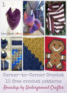 Roundup: 10 free corner-to-corner crochet patterns, curated by Underground…