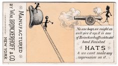 Wm. Brinckerhoff & Co. Hats New York Antique Advertising Card Canon Exaggeration