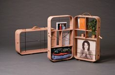 """HANEMAAI, """"Two portable objects for storage, that have the double function of a suitcase and a show display"""", pinned by Ton van der Veer"""
