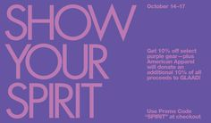 American Apparel has set up a special #SpiritDay shop. Get your purple clothing to stand up against bullying (and get 10% off!): http://www.glaad.org/blog/american-apparel-sets-shop-spiritday-offers-10-go-purple