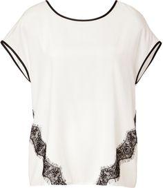 Steffen Schraut Stretch Silk T-Shirt with Lace on shopstyle.com