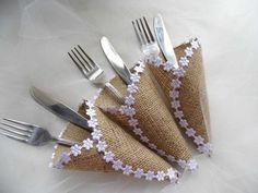 Silverware Holder Burlap Cutlery Holder by MelindasSewingCorner