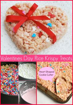 Heart Shaped Confetti/Pink Valentines Day Rice Krispy Treats for kids.  A fun Classroom treat!