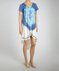 Loving this Blue & White Embroidered Dip-Dye Hi-Low Dress on #zulily! #zulilyfinds