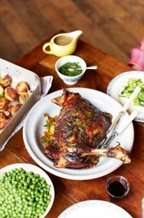 Roast shoulder of lamb gives you the most tender, sweet, delicious meat that just falls off the bone – it's definitely my favourite cut of lamb for roasting. Cooked in this way, you can get everything you want for a good price, feed six people, and have loads of leftovers. Keep the bones and any spare mint sauce for later recipes too.