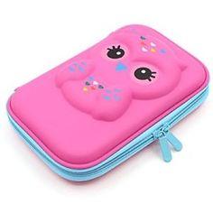 Girls-Pencil-Case-School-Cute-Owl-Face-Hardtop-Big-Box-Pocket-Holder-Pretty-Kids
