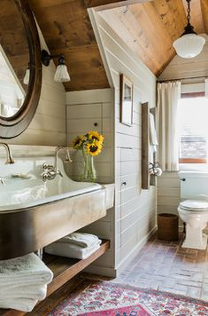 Farmhouse White Farmhouse Cottage Bathroom Bath Design Ideas, Pictures, Remodel and Decor--LAKE HOUSE