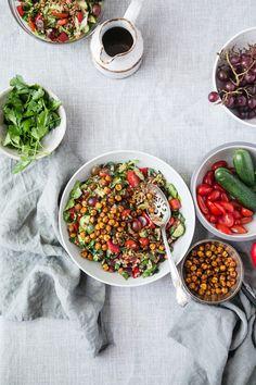 Farro Salad w/ Crispy Spicy Chickpeas + Sumac Vinaigrette by The Green Life