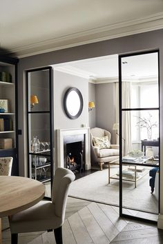 Sims Hilditch Parsons Green Townhouse Contemporary Sitting Room with crittal doo… - Aufenthaltsraum Home Living Room, Interior Design Living Room, Living Room Decor, Dining Room, Living Room Suites, Living Room Kitchen Divider, Narrow Living Room, Cottage Living Rooms, Interior Livingroom