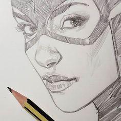 Comic Drawing, Line Drawing, Drawing Sketches, Comic Books Art, Comic Art, Book Art, Ben Oliver, Batgirl, Catwoman